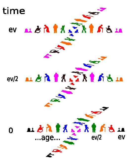 Âges et cycle de vie humain dans l'espace-temps